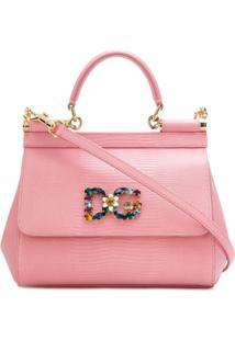 Dolce & Gabbana Bolsa Tote 'Sicily' De Couro - Rosa