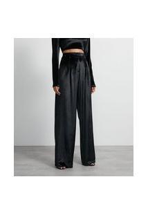 Calça Pantalona Em Veludo Com Cintura Alta E Pregas | Blue Steel | Preto | G