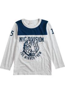 Camiseta Tigre- Cinza & Azul Marinho- Lecimarlecimar
