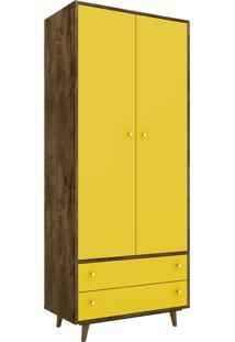 Guarda-Roupa Milao Madeira Rústica E Amarelo Móveis Bechara