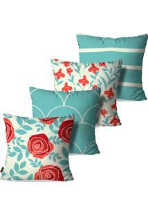 Kit Com 4 Capas Para Almofadas Decorativas Estilo Floral Com Linhas 45X45Cm