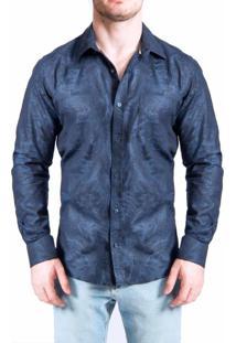 Camisa Sergio K. Jacq Flower Dark Azul