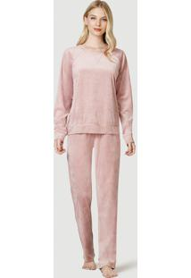 Pijama Longo Feminino Em Plush
