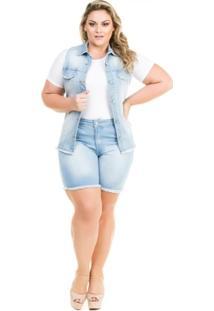 Colete Confidencial Extra Plus Size Jeans Acinturado Barra Desfiada Feminino - Feminino