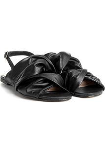 Rasteira Couro Shoestock Com Drapeado Feminina - Feminino-Preto