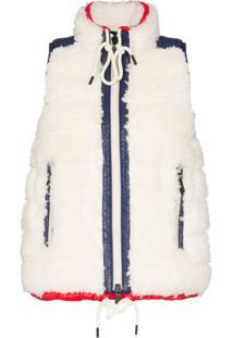 Moncler Grenoble Colete Com Recorte Em Pele - Branco