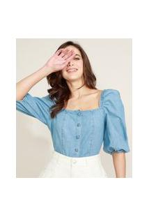 Blusa Jeans Feminina Mindset Com Botões Manga Bufante Decote Reto Azul Médio
