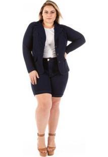 Blazer Jeans Feminino Slin Plus Size Confidencial Extra - Feminino-Marinho