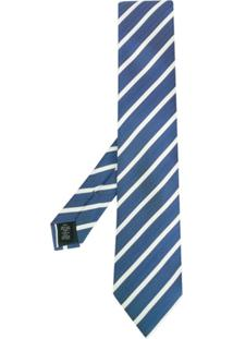 Ermenegildo Zegna Gravata De Seda Listrada - Azul