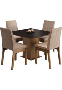 Sala De Jantar Madesa Cris Mesa Tampo De Madeira Com 4 Cadeiras