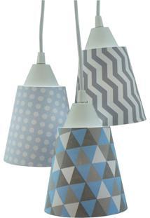 Lustre Pendente Luminária Cacho Tecido Azul Bebê, Cinza E Branco