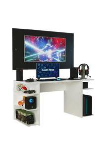 Mesa Gamer Madesa 9409 E Painel Para Tv Até 58 Polegadas - Branco/Preto Branco