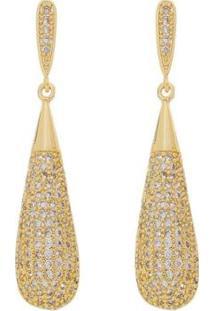 Brinco Aea Gota Cravejada Zircônias Brancas Folheado Ouro 18K - Feminino-Dourado