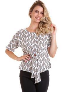 Blusa Kinara Com Faixa Na Cintura Feminina - Feminino-Branco