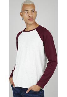 Camiseta Masculina Básica Manga Longa Raglan Gola Careca Cinza Mescla Claro