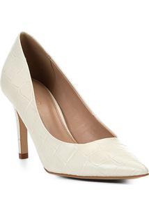 Scarpin Couro Shoestock Croco Salto Alto Bico Fino - Feminino-Off White