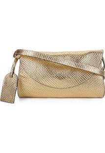 Bolsa Pochete Couro Shoestock Feminina - Feminino-Dourado