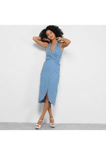 Vestido Il Shin Amarração Transpassado - Feminino-Azul