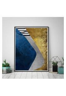 Quadro Com Moldura Chanfrada Abstrato Azul Com Dourado Grande