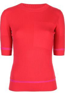Proenza Schouler Blusa Decote Careca De Tricô Canelado - Vermelho