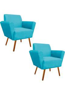 Kit 02 Poltronas Decorativa Dora Suede Azul Tiffany - D'Rossi