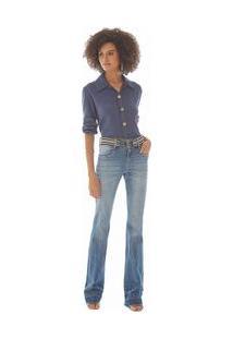 Calça Maria.Valentina Boot Cut M. Valentina Cós Largo Cinto Listrado Jeans
