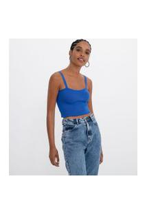 Blusa Cropped Alça Larga Em Tricô | Blue Steel | Azul | G
