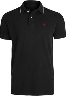 Camisa Masculina Polo Tridente - Preto