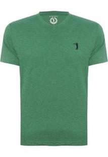 Camiseta Aleatory Gola V Básica Masculina - Masculino-Verde