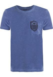Camiseta Masculina Bolso Brasão - Azul Marinho