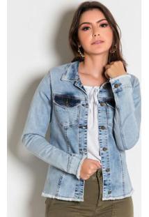 Jaqueta Jeans Clara Com Botões E Desfiados