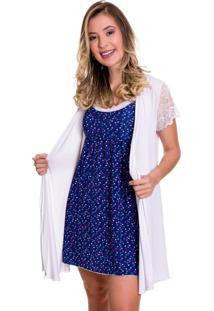Camisola Amamentação Estilo Sedutor Com Robe Azul Estampada - Dr171-Es207