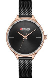 Relógio Curren Analógico C9062L Preto E Rosê
