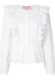 Bapy Blusa Com Bordado E Abotoamento - Branco