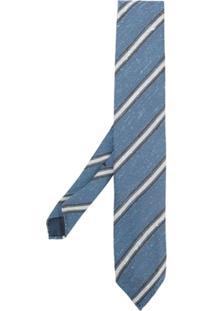 Lardini Gravata De Seda Listrada - Azul