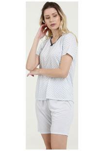Pijama Feminino Estampa Bolinhas Laço Manga Curta Marisa