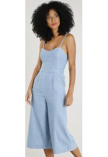 Macacão Jeans Pantacourt Feminino Com Bolsos Azul Claro