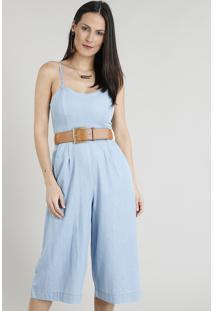 65fe810ad ... Macacão Jeans Pantacourt Feminino Com Bolsos Azul Claro