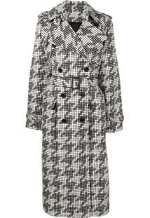 Bottega Veneta Trench Coat Com Estampa - Preto