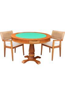 Mesa De Jogos Carteado Victoria Redonda Tampo Reversível Amêndoa Com 2 Cadeiras Megan Linho Bege - Gran Belo