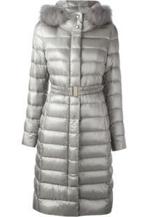 Herno 'Ultralight' Fur Trim Coat - Cinza
