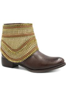 Bota Cano Curto Zariff Shoes Ankle Boot Zíper Feminino - Feminino-Marrom