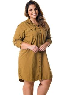 Vestido Chemise Plus Size Caramelo - Tricae