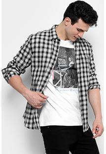 Camisa Colcci Ml Xadrez Flanelada Bolso Masculina - Masculino-Preto