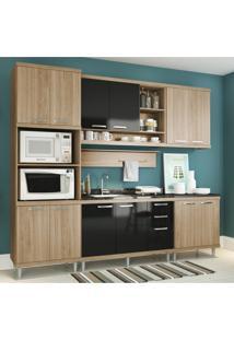 Cozinha Completa Multimóveis Com 6 Peças Sicília 5814 Argila/Preto