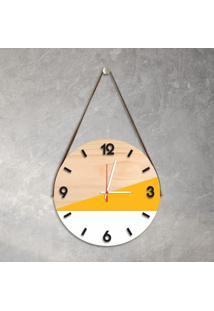 Relógio De Parede Decorativo Adnet Amarelo E Branco Com Números Em Relevo Médio