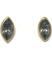Brinco Armazem Rr Bijoux Cristal Swarovski Mini Navete Ouro Velho