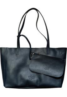 Bolsa Line Store Sacola Shopper N2 Couro Azul Marinho