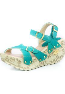 Sandalia Feminina Top Franca Shoes Plataforma Anabela Verde