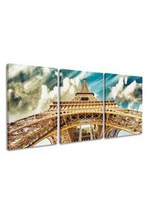 Quadro 75X150Cm Torre Eiffel Vista De Baixo Canvas Céu Azul